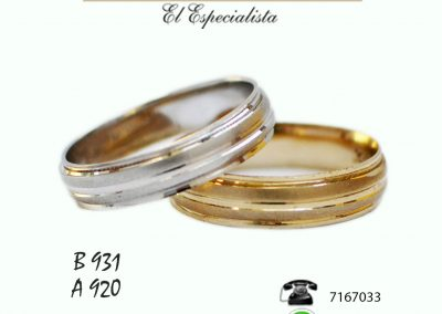 Argollas de matrimonio B931, A920.